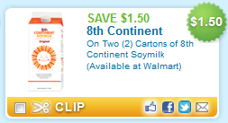 soy milk coupons $1.50/2 8th Continent Soy Milk   Printable Coupon