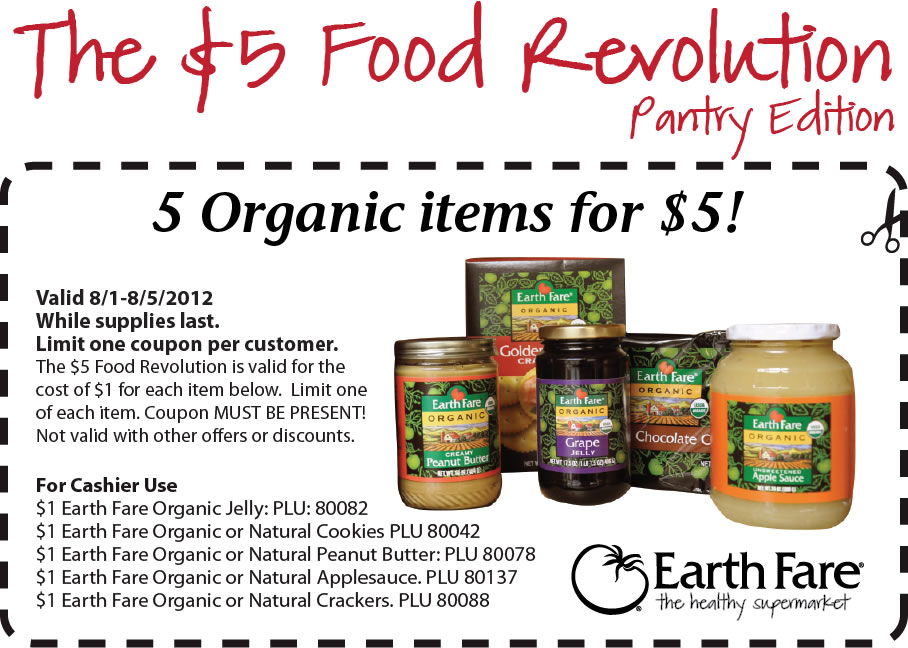 earth fare 5 organic pantry items for 5 total Earth Fare Coupons   5 Organic Pantry Items for only $5 total!